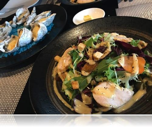 Le Corto チキンサラダと牡蠣♪