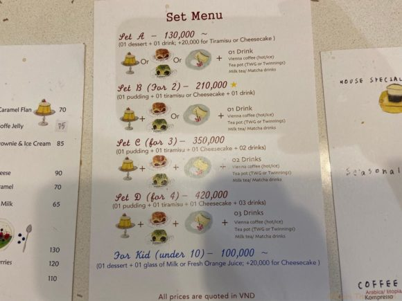 Trung Cafeセットメニュー